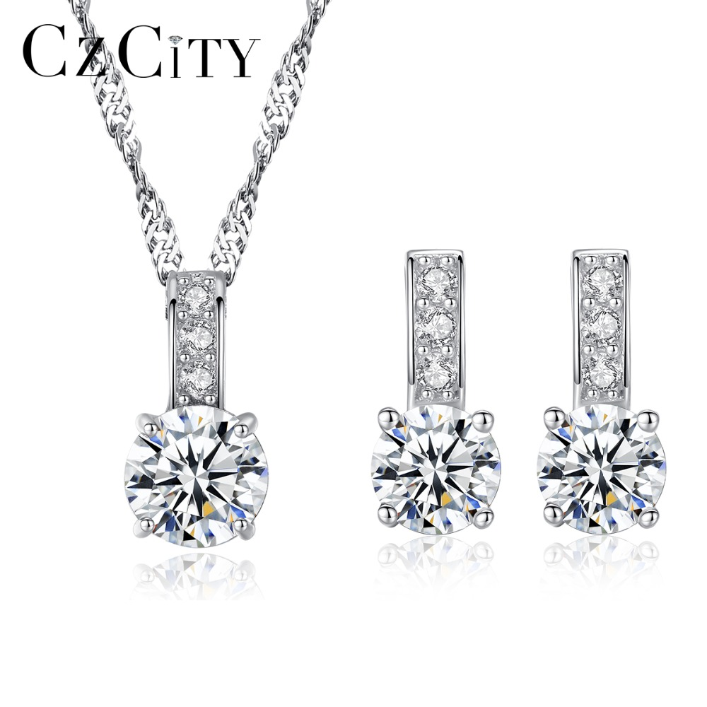 CZCITY Classic Women 925 Silver 5mm Main Stone <font><b>Hearts</b></font> & Arrows Cubic Zirconia <font><b>Earrings</b></font> Necklace Engagement Bridal Jewelry Sets image