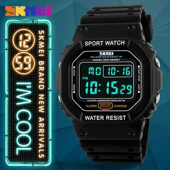 цена SKMEI G Style Digital Led Sports Watches 50M Waterproof Shock Fashion Casual Watch Brand Watches Wristwatches Men Rectangle Dial онлайн в 2017 году
