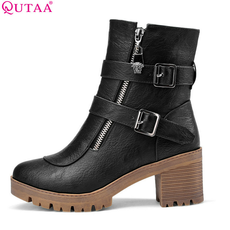 QUTAA PU Leather Fashion Women Boots High Heels Women ankle Boots Autumn size 34-43