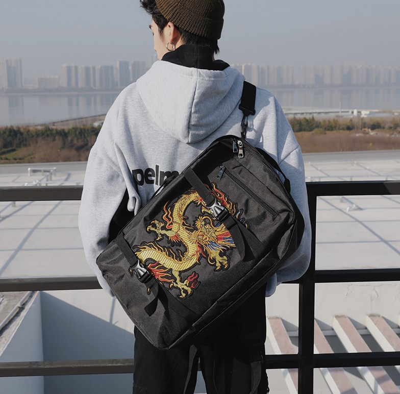 Backpack Chinese-Style Interior-Compartment Fashion Unisex Dragon-Skateboard-Bag Multipurpose