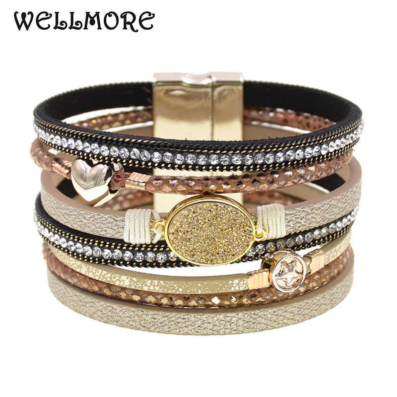 Pulseras de cuero con encanto de metal para mujer, pulseras con capas múltiples de piedra, regalos para mujer, joyería de moda, venta al por mayor