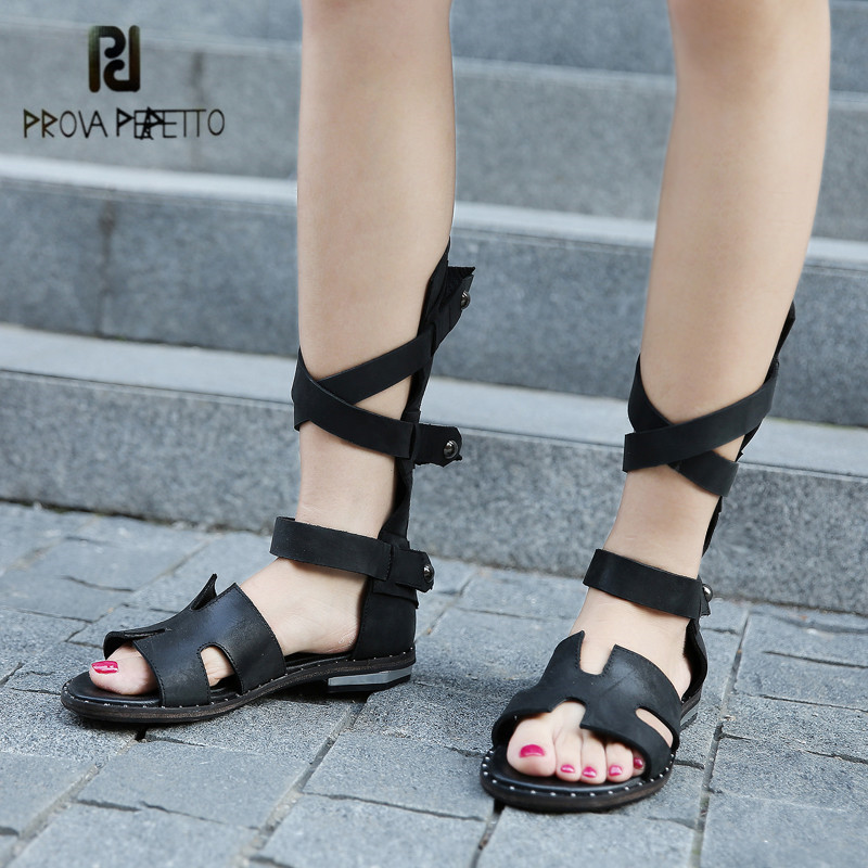 Prova Perfetto 2018 New Arrival Hollow Out Women Sandals Peep Toe Straps Summer Boots Flat Shoes Woman Sandalias Mujer summer new casual flat women sandals fashion wedges mixed colors women sandals comfortable peep toe sandalias woman shoes mujer