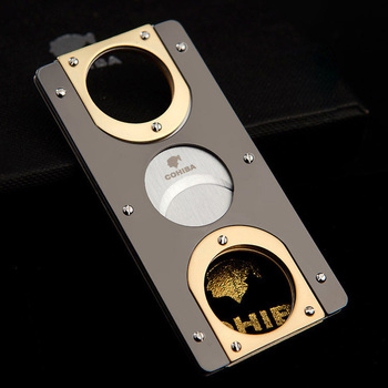 COHIBA Double Blades Stainless Steel Gold Plated Cigar Cutter Pocket Gadgets Zigarre Cutter Knife Cuban Cigars Scissors 163GH