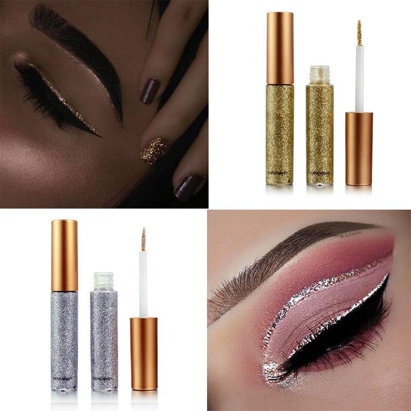 Handaiyan Liquid Glitter Eyeliner Eyeshadow Shiny Waterproof Long Lasting Sparkling Eye Makeup Diamond Shining Eyeliner Cosmetic