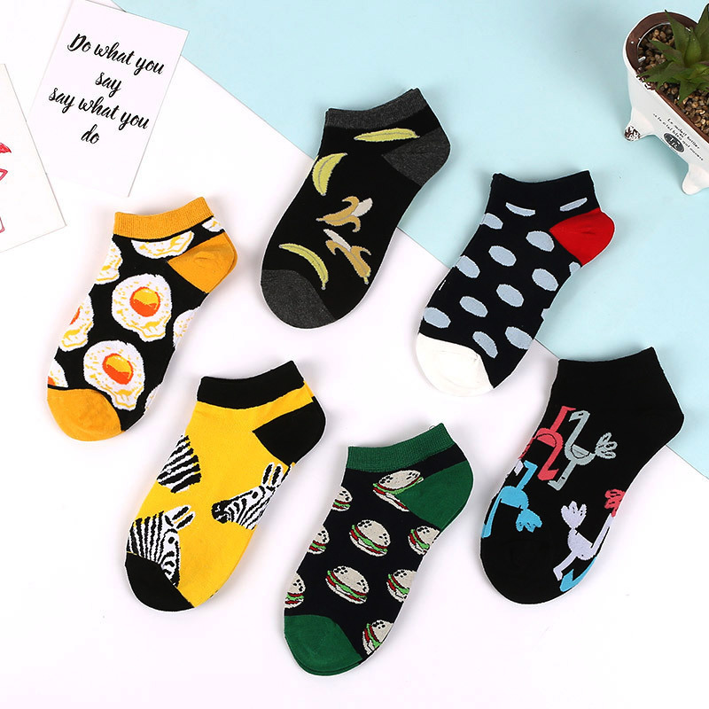 Avocado Zebra Burger Omelette Flamingo Animal Fashion   Socks   Happy Cotton Funny   Socks   Men Novelty Summer Casual   Socks   Women