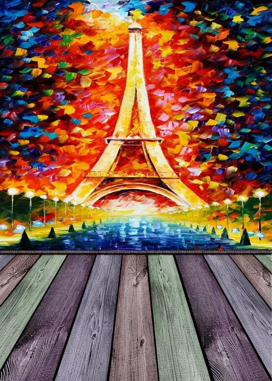 Customize vinyl cloth print Eiffel tower art photo studio backgrounds for children portrait photography backdrops props S-935