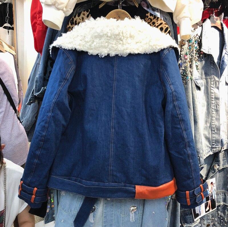 Rembourré Automne Couture Double Coton Manteau Hiver Chaud Manteaux À Bergerie Bleu Laine De Veste Denim Boutonnage Nouvelle Femmes Épaissie 4nZxqCrw4