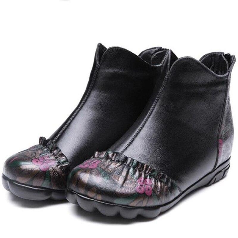 2018 Nouvelles En Des Neige Femmes Cuir Femme Confort De Impression Chaussures Marque Plat Bottes Mode Véritable Zxryxgs D'hiver Chaleureux QWCxordeB