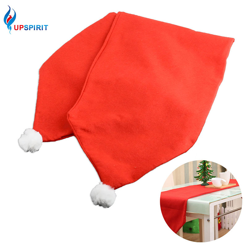 Upspirit Christmas Decorative Table Runner with White Pompom Festival Tablecloth Home Party Restaurant Dinner Table Decoration