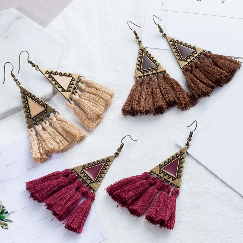 Statement Earrings Jewelry Tassel Boho Ethnic Colorful Bohemian Women for Drop Charm
