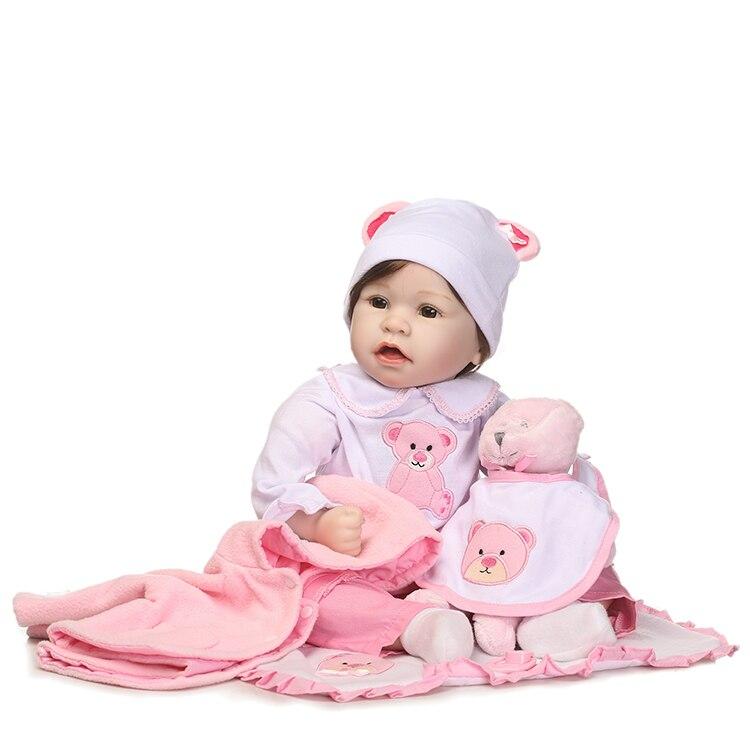 55 cm Silicone Reborn Bébé Poupée Jouets Avec Ours Sucette De Luxe Accessoires Princesse Poupées Belle Cadeau D'anniversaire Filles Brinquedos