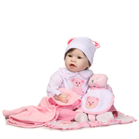55cm Silicone Reborn Baby Doll Toys With Bear Pacifier Luxury Accessories Princess Dolls Lovely Birthday Gift