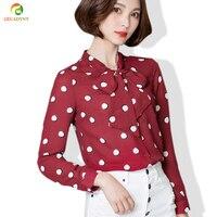 Blusas Femininas Camisas Autumn Style Long Sleeve Shirt Women Tops Polka Dot Chiffon OL Women Blouses