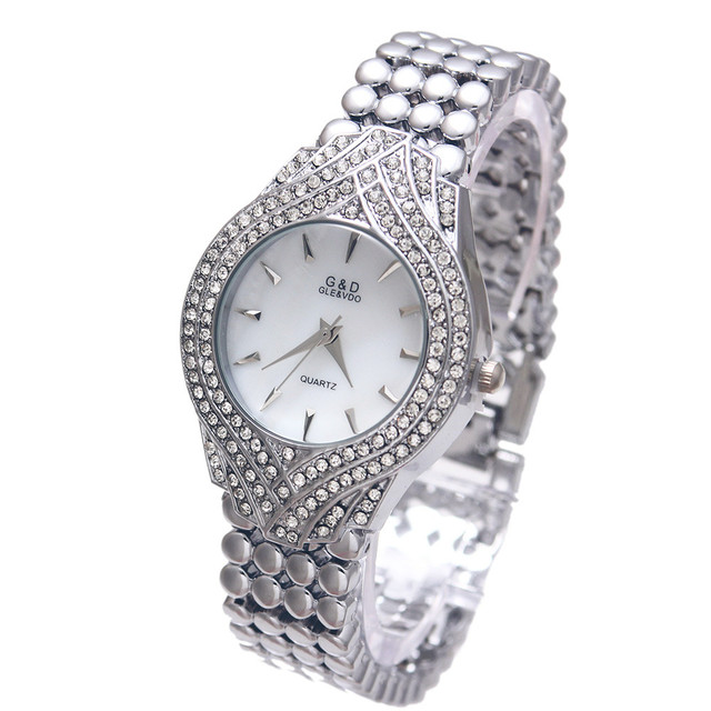2017 New G&D Watch Women Quartz Watch Silver Stainless Steel Band Relojes Mujer