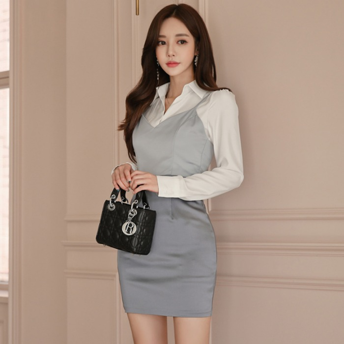 Dresses Objective Elegant Fake Two Piece Shirt Women Dress Office Lady Sling Long Sleeve Mini Dress 2018 Autumn Winter Blazer Blouse Dresses