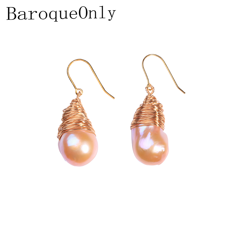 BaroqueOnly Natural Freshwater Pearl Pendant Baroque earrings Jewelry, 925 Sterling Silver jewelry, birthday gift for Women EM baroqueonly s925 sterling silver 100% natural white baroque big 15 25mm pearl bracelet fashion jewelry for women hl