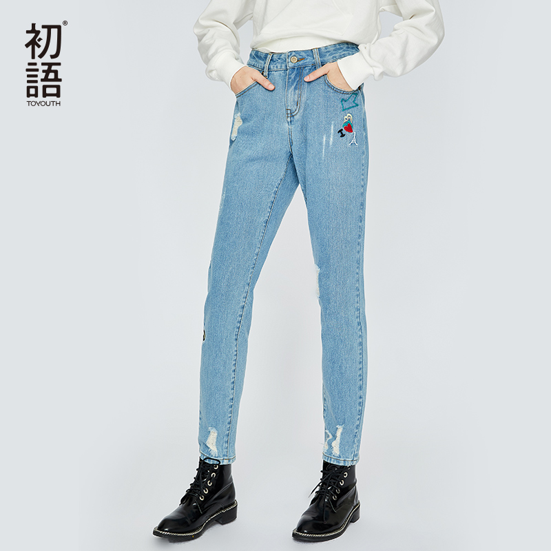 Toyouth Women Denim Jeans Embroidery Straight Pants Mujer Ripped Trousers Casual Streetwear Boyfriend Jean Ladies Pant