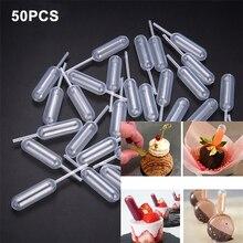 50Pcs Ice Cream Milkshake Pipette Straw Dropper Disposable Cupcake Baking Tools Chocolate Seasoning Dropper Juice Squeezer
