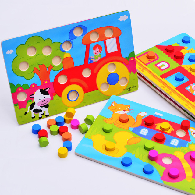 1 Set Wooden Toys Puzzles Tangram Jigsaw Board Educational Early Learning Cartoon Wood Puzzles Kids Toys for Children