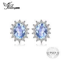 Natural Topza Gemstone Earrings Stud Genuine 925 Sterling Silver Vintage Charm Gift For Girls 2015 Brand