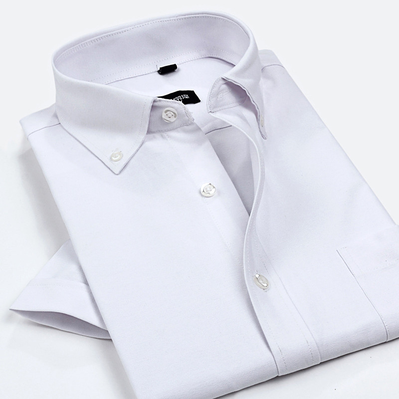 Men Solid Dress Shirts 2017 summer Oxford Mens Shirt cotton Short Sleeve Casual Male fitted Shirts man Slim Fit Shirts For Men
