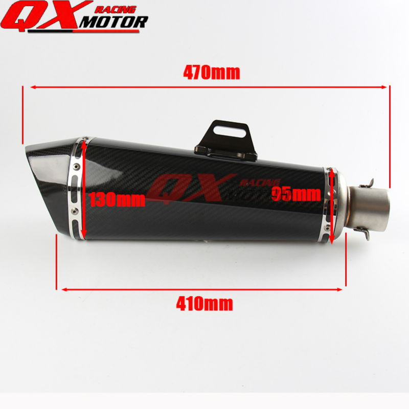 470mm Length Inlet 50mm Carbon fiber Exhaust Mufflers Pipe For Scooter Motocross Enduro Supermoto Off road Motorcycle Modified