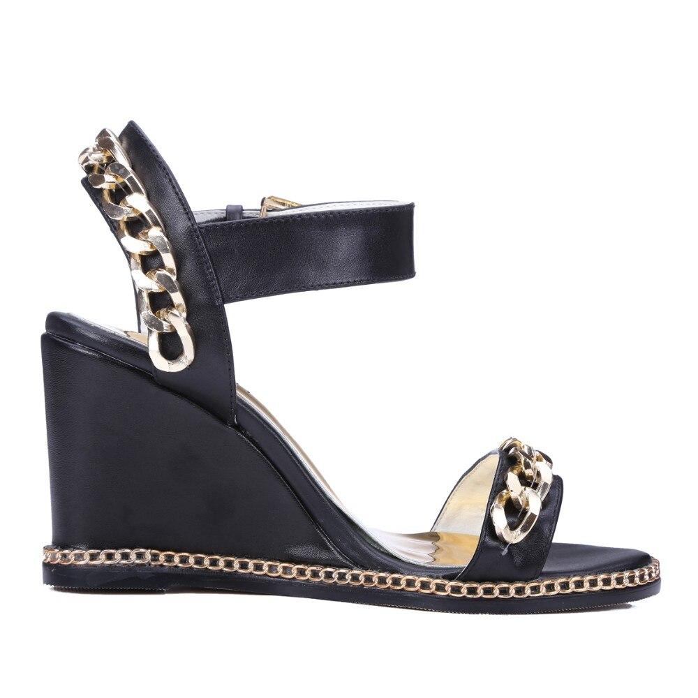 Original intención de alta calidad 2 colores mujeres sandalias de cuero de vaca cadenas de moda cuñas negro blanco Zapatos Mujer talla estadounidense 3  10,5-in Sandalias de mujer from zapatos    3