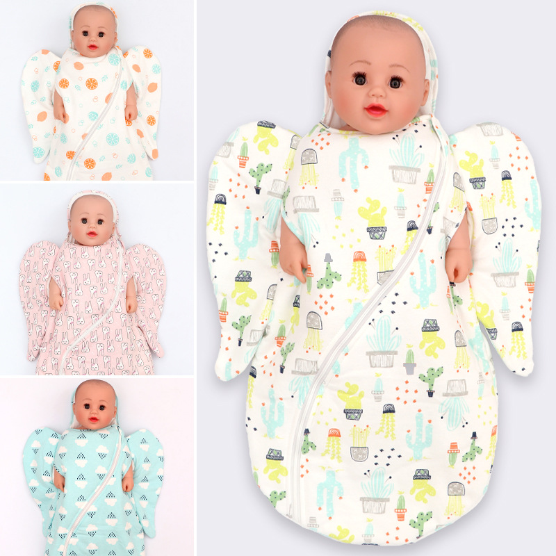 Angel Shaped Newborn Baby Sleeping Bag Toddler Wearable Sleep Quilt, Infant Swaddle Wrap Cotton Cartoon Baby Bedding Quilt