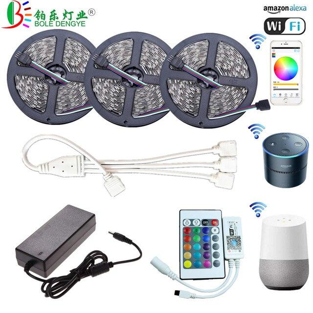 5 M WiFi Bluetooth LED רצועת DC 12 V SMD 5050 ללא עמיד למים גמיש RGB קלטת סרט אור עובד עם אמזון Alexa Google לסייע