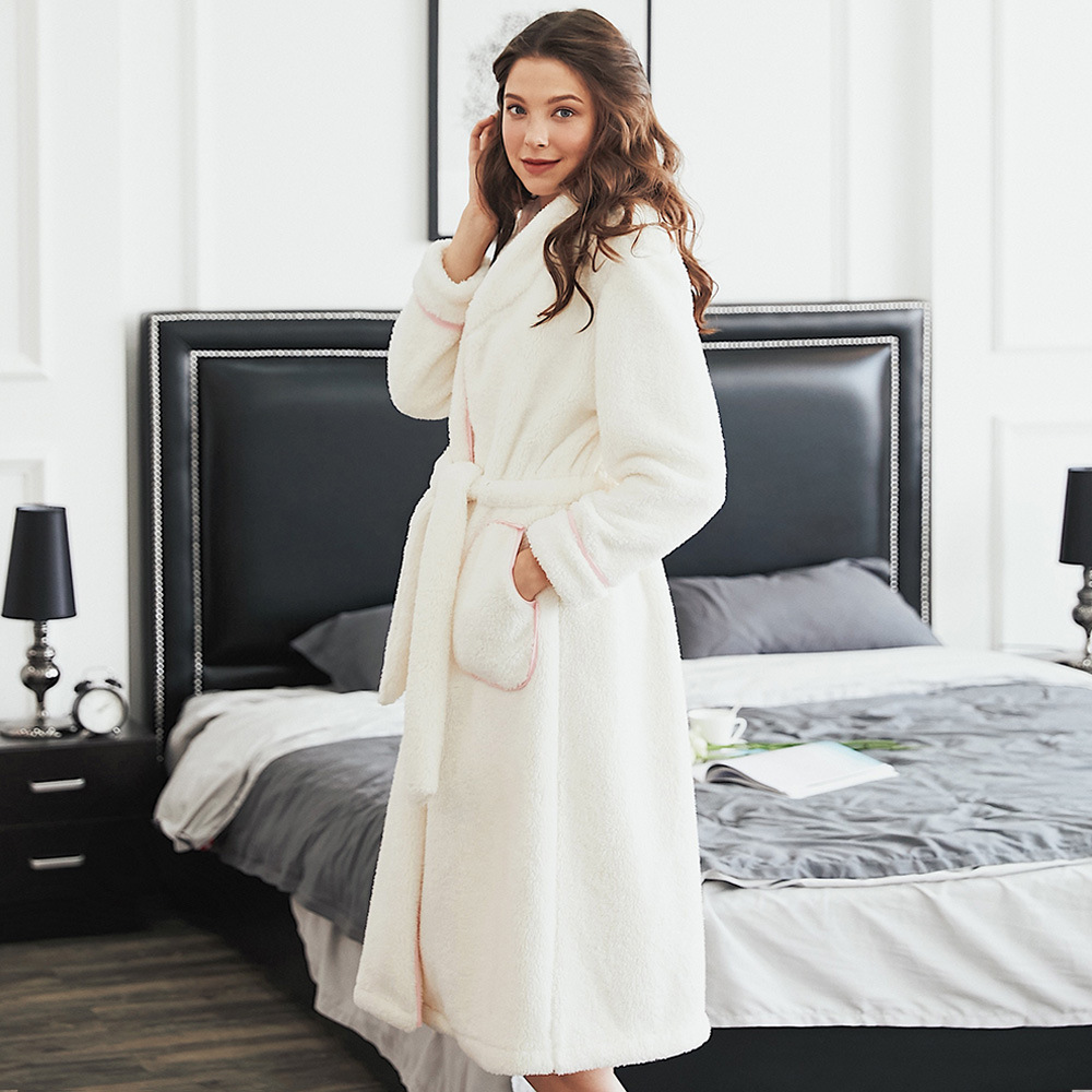 5807cc2030 Women s Sleepwear Brief Sweet Solid Color Long Sleeve Pocketed Thicken Robe  Pajama-in Robes from Underwear   Sleepwears on Aliexpress.com