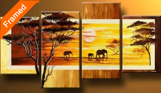 Four pcs framed oil painting (Sunset On the African savannah) gallery wrapped ready to hang modern canvas picture for wall