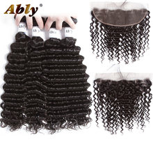 Ably Hair Extensions Malaysian Deep Wave Bundles With Frontal Closure Remy Human Hair Weave 4 Bundles With Lace Frontal Closure(China)
