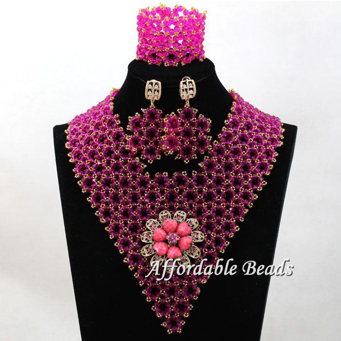 Luxury Beaded Weaving Nigerian African Bridal Wedding Beads Jewelry Necklace Beaded Party Jewelry Set Handmake hx093 chunfeng handmake dimaond cubezd002150