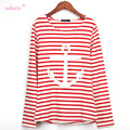 Sakura 2015 Autumn Winter t-shirt women striped long sleeve casual stripes Anchor Ballinciaga Printed t shirt  woman tops tees