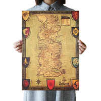 OLOMM juego de tronos mapa occidental Retro Kraft papel póster Interior Bar Café juego decorativo de tronos decoración 42X36 cm