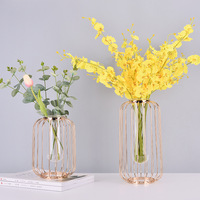 Nordic Style Light Luxury Simple Vase Glass Test Tube Hydroponics Flower Geometry Vase Rack Household Decoration Accessories