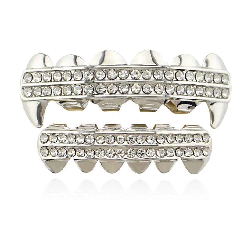 Punk Gold Zähne Grillz 2 Row Iced Out Grills Dental Hip Hop Vampir - Modeschmuck - Foto 2