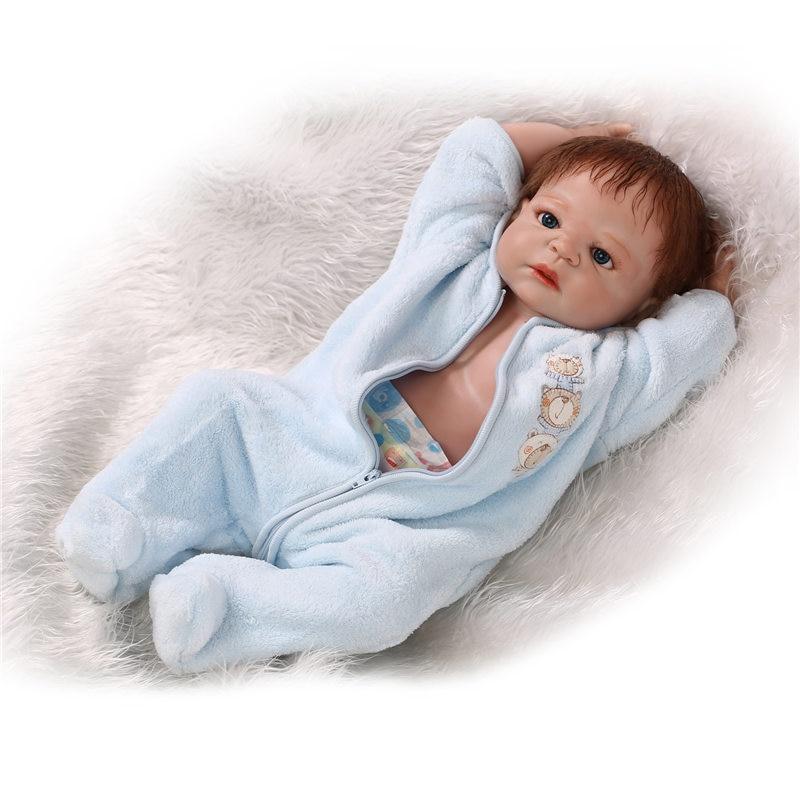ᑐ55cm full silicone reborn baby boy doll toy 22inch vinyl newborn