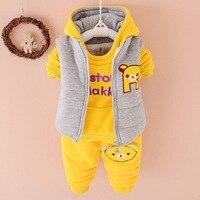 2015 New fashion cotton children boy girl winter clothes suit kids Sports warm Plus thick velvet three piece brand child suits
