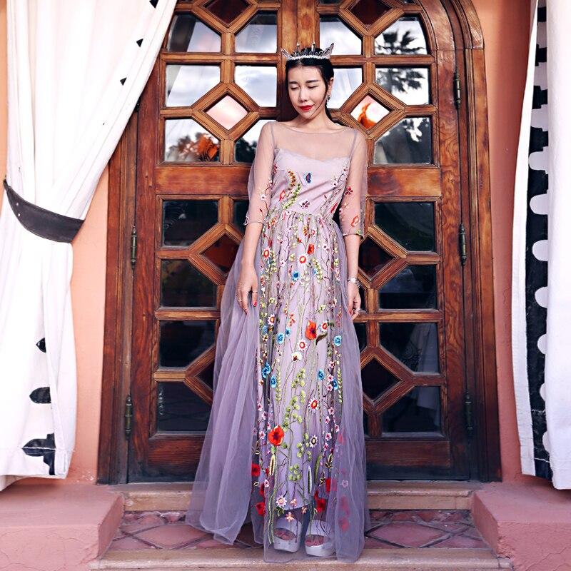 Mx057 Новый Дизайн В стиле принцессы женские длинные макси See Through Тюль высокого качества цветочной вышивкой летнее платье 2016