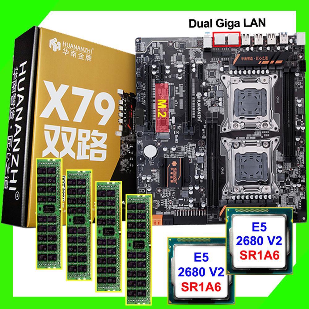 PC DIY HUANAN ZHI dual X79 Placa base con M.2 ranura descuento placa base con dual CPU Intel Xeon E5 2680 V2 RAM 64G (4*16G)
