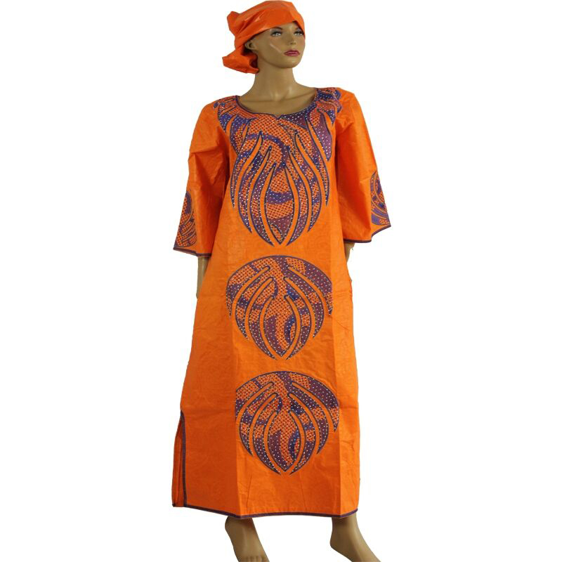 MD african dresses for women bazin riche dress with head wraps one set 2019 new africa dress dashiki sets ladies clothes turban in Africa Clothing from Novelty Special Use