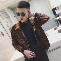 New Man's Short Jacket Leopard Coat Slim Fit Club Wear Long Sleeve Zipper Casual Z12