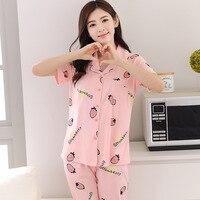 Summer Pajamas Female Cotton Short Sleeved Pants Korean Girls Cardigan XL Leisure Suit Home Furnishing Cartoon