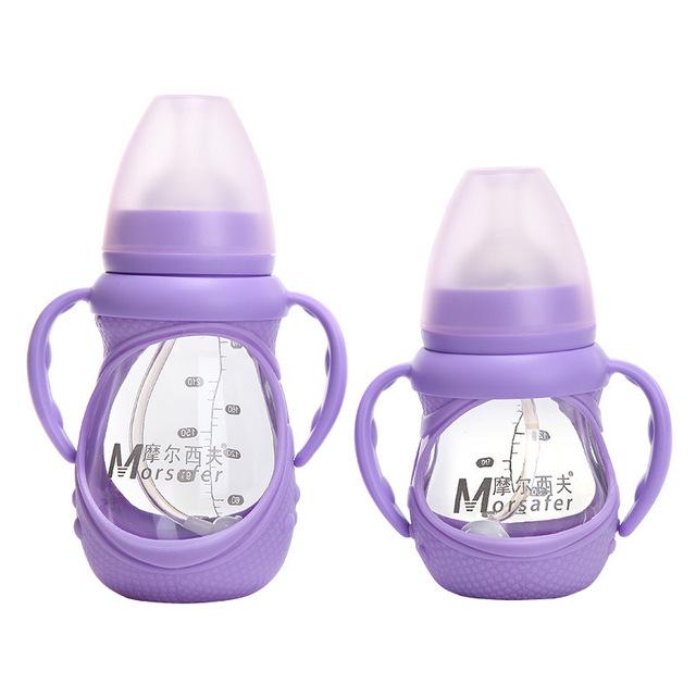 Morsafer Largura Queda Garrafa de Vidro Calibre Bebê Trazer Punho Defesa Bottl Alimentação copo Anti-queda frete grátis 150 ml