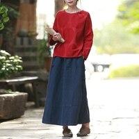 Hisenky 2018 Spring Elastic Waist Skirt Womens Cotton Linen Long Skirt Autumn Retro Skirt Saia Longa