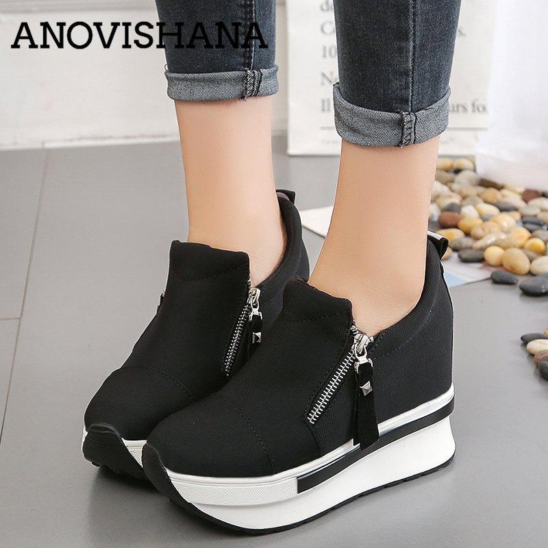 ANOVISHANA Platform Shoes Women Ladies Sneakers Canvas 3.5cm Heighten Increasing Slip On Causal Spring Autumn Black Red H149