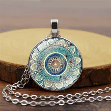 2018 New Fashion Mandala Yoga Time Gem Necklace Glass Pendant Neck ChainNecklace Women Jewelry Wholesale(China)