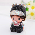 Womens Novelty Rhinestone Crystal Monchichi Baby Boy Dolls Keychains for Bag Cellphone Car Key Pendant