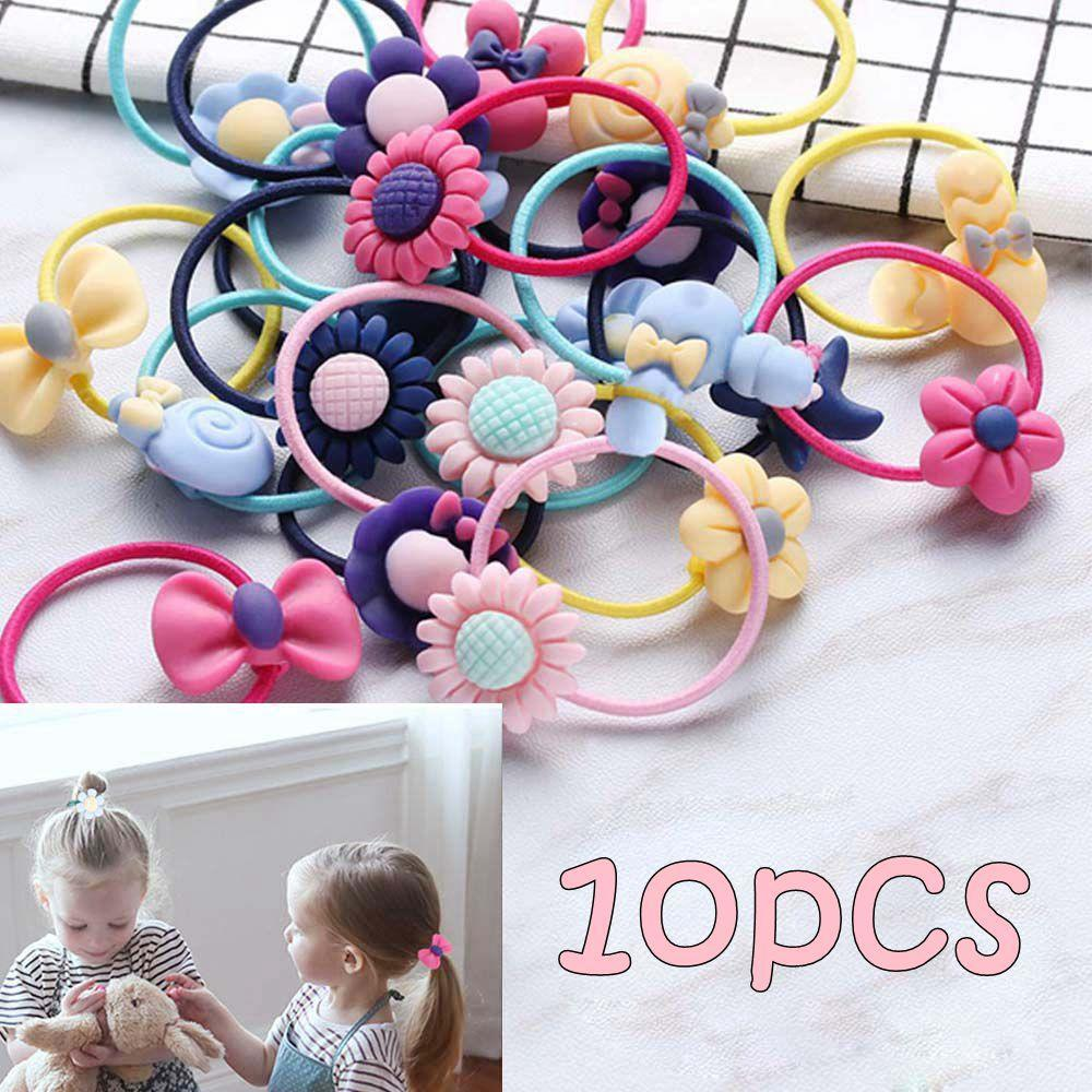 iMucci 10Pcs Mixed Random Animal Ponytail Holder Cartoon Hairband Kids Elastic Scrunchie Hair Accessories Rubber Gum Ornaments